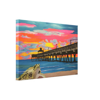 Pop do cais da praia de Deerfield! pintura em um Impressão De Canvas Envolvidas