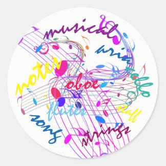 Poppin colore notas musicais em etiquetas redondas