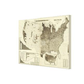 População estrangeira por condados impressão em tela canvas