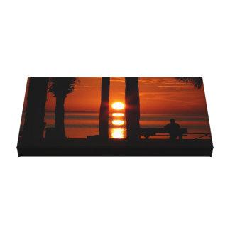 Por do sol bonito na lona esticada impressão de canvas envolvida