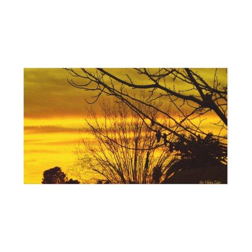 Por do sol com cores do yelow impressão de canvas esticadas