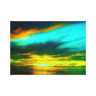 Por do sol da explosão do azul impressão de canvas envolvida