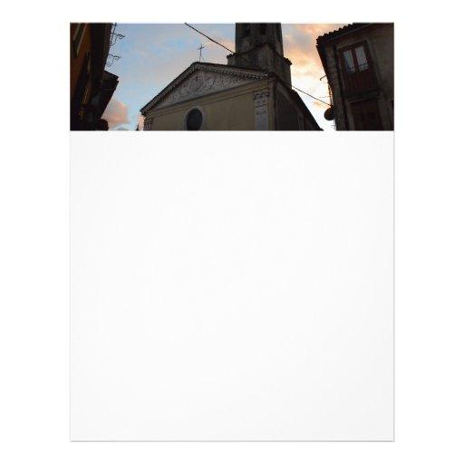 Por do sol da igreja de Laino Borgo Papel De Carta Personalizados