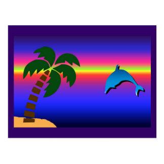 Por do sol da palmeira e cartão do golfinho