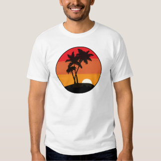 Por do sol da palmeira t-shirt