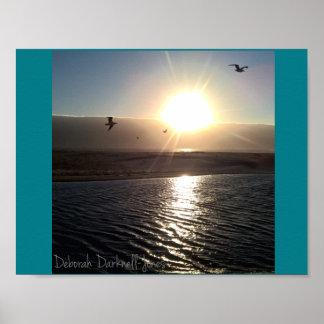 Por do sol da praia da angra de Scott Pôster
