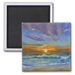 Por do sol da praia de Malibu Ímã Quadrado