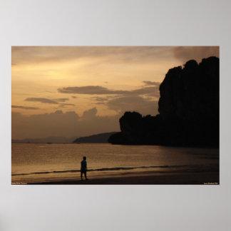 Por do sol da praia de Railay Pôster