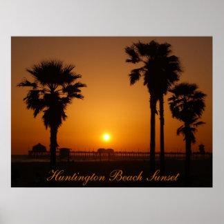 Por do sol de Huntington Beach Pôster