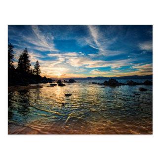 Por do sol de Lake Tahoe Cartão Postal