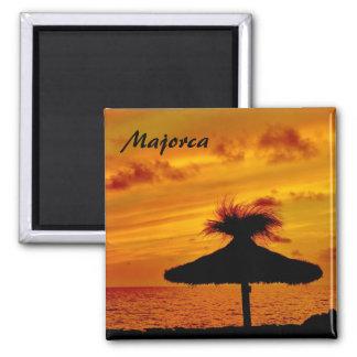 Por do sol de Mallorca - ímã Ímã Quadrado