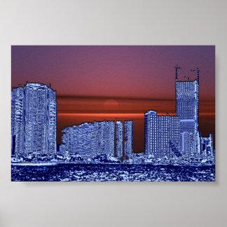 Por do sol de Miami Poster