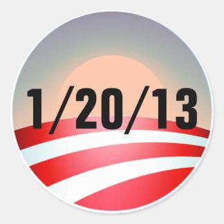 Por do sol de Obama Adesivo Em Formato Redondo