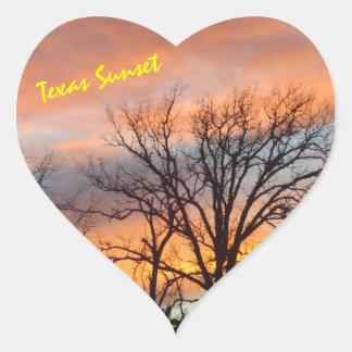 Por do sol de Texas Adesivo Coração