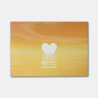 Por do sol do amor - 3D rendem Bloco Post-it