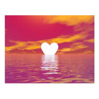 Por do sol do amor - 3D rendem Cartão Postal