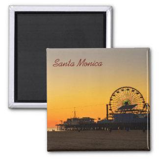 Por do sol do cais de Santa Monica Ímã Quadrado