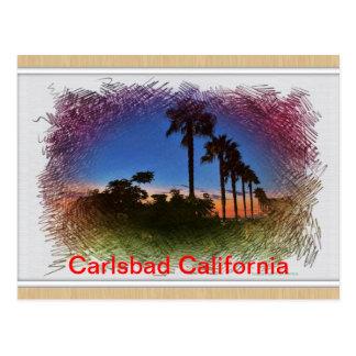 Por do sol do cartão em Carlsbad, Califórnia