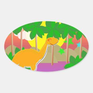 Por do sol do dinossauro adesivo oval