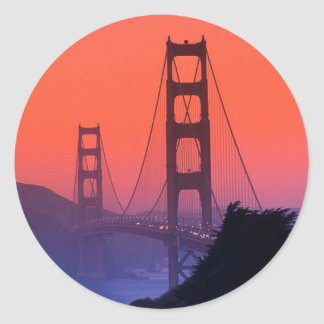Por do sol do Golden Gate Adesivos Redondos