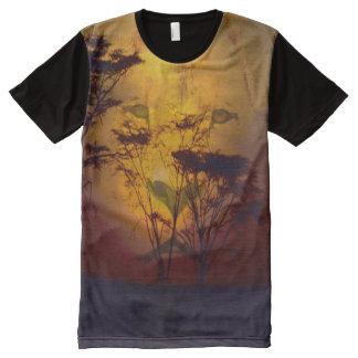 Por do sol do leão camisetas com impressão frontal completa
