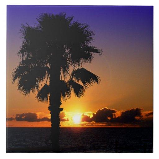 Por do sol do Oceano Pacífico Azulejo De Cerâmica