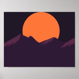 Por do sol do roxo do pixel pôster