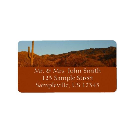 Por do sol do Saguaro mim paisagem do deserto da Etiqueta De Endereço