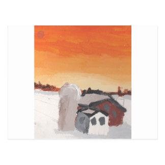 por do sol do sol da casa da fazenda do celeiro cartão postal