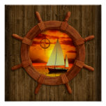 Por do sol do veleiro posteres
