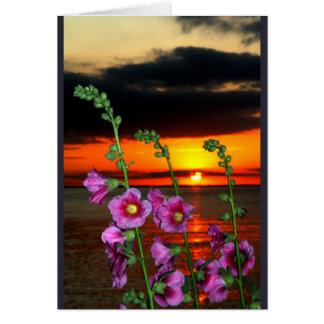 Por do sol do Winnebago do lago que pensa de você Cartão