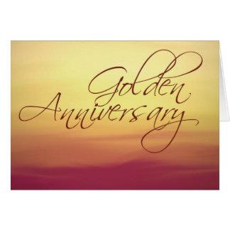 Por do sol dourado que Wedding Anniversay Cartão Comemorativo