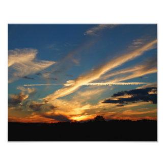 Por do sol dramático impressão fotográfica