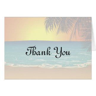 Por do sol e cartões de agradecimentos das