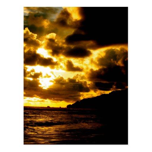 Por do sol em Carate, Costa Rica Cartao Postal