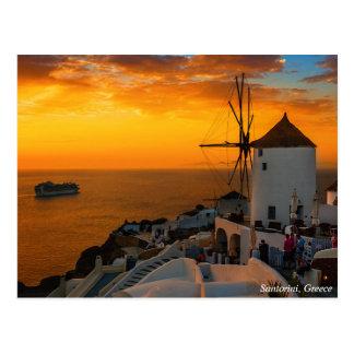 Por do sol em Santorini, piscina - cartão de