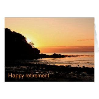 Por do sol feliz da aposentadoria em Scotland Cartoes