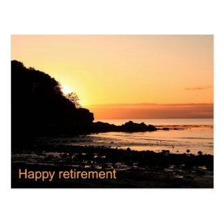 Por do sol feliz da aposentadoria em Scotland Cartoes Postais