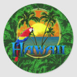 Por do sol havaiano adesivos redondos