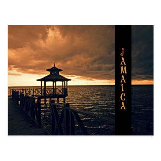 Por do sol jamaicano cartão postal