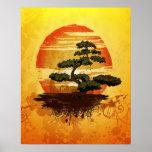Por do sol japonês da árvore dos bonsais posteres
