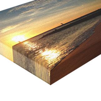 Por do sol na praia impressão em tela