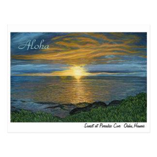Por do sol no cartão da angra do paraíso