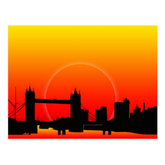 Por do sol no cartão da ponte da torre