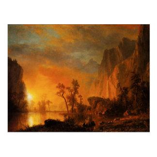 Por do sol no cartão de Montanhas Rochosas