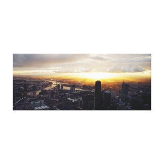 Por do sol no impressão das canvas da cidade