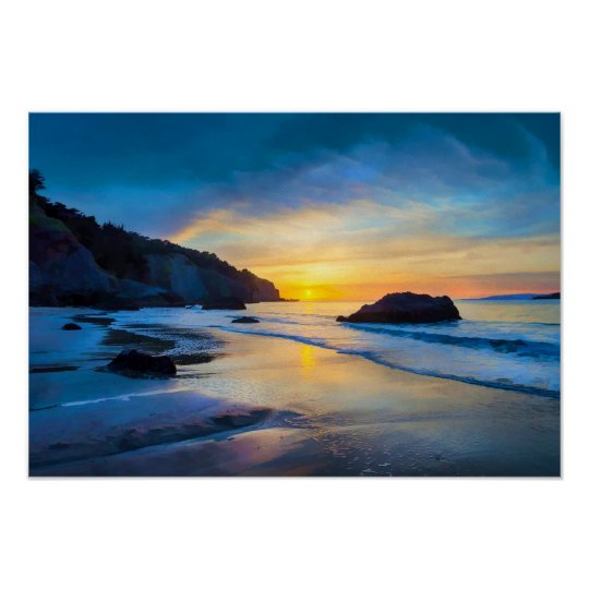 Por do sol no Pacífico na praia San Francisco de Poster