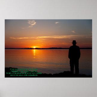 Por do sol no poster da baía de Galway