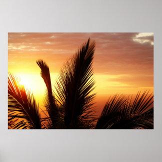 Por do sol impressão