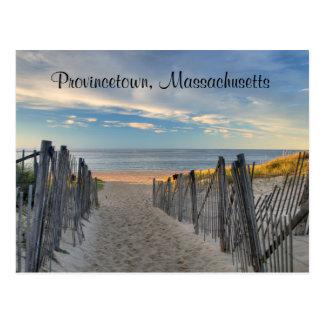 Por do sol Provincetown de Cape Cod, cartão da